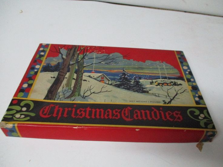 Vintage Christmas Candy Box - Winter Scene - A R WALKER CO of OWOSSO MICHIGAN | eBay
