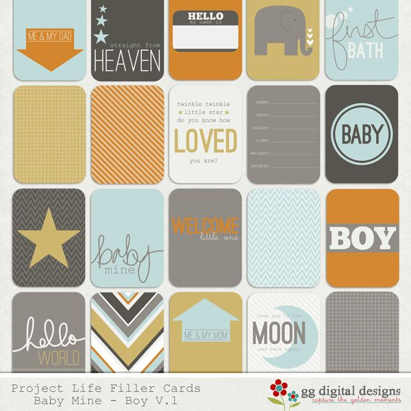 Project Life Baby Mine BOY Collection - Boy Filler Cards @ggdigitaldesigns.com/shop/# #ProjectLIfe #BabyMine #Boy #FillerCards
