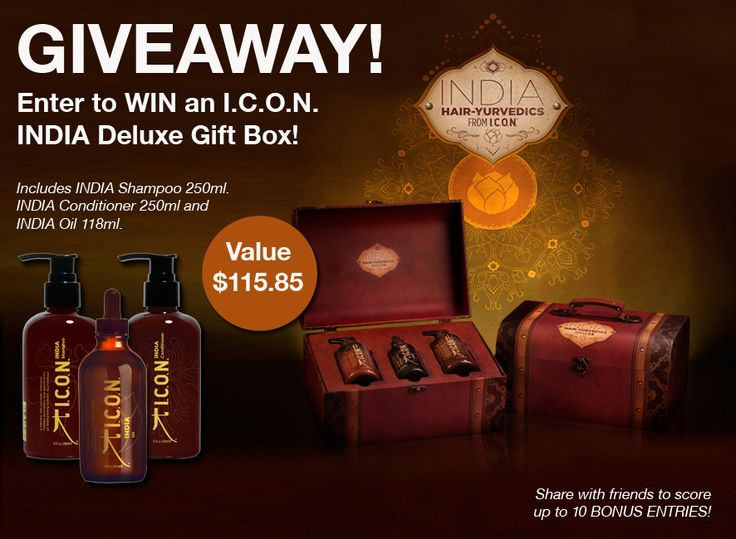 """WIN an I.C.O.N. INDIA Deluxe Gift Box valued at $115! This amazing gift box includes the INDIA Shampoo 250ml, INDIA Conditioner 250ml and INDIA Oil 118ml presented in a beautiful """"treasure-chest"""" that can be reused as a cosmetics travel case or multiple other uses.  Don't forget to click on the """"Share with Friends"""" tab once you've entered to score up to 10 BONUS ENTRIES! http://gvwy.io/6x58t3 #iconproducts #icon #iconindia #haircare #giftbox #gift #hair"""
