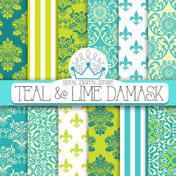 "Teal and Lime Damask : "" Teal & Lime Damask "" with lime damask pattern, blue damask, teal damask, turquoise damask, electric lime damask"