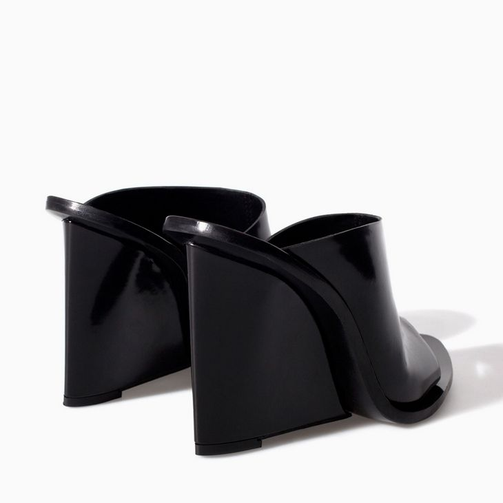 bb16d76ee8b Black polished leather wedge mules
