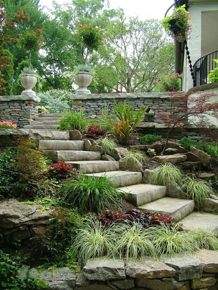 Stones steps and border garden stone patio pinterest for Pictures of stone steps