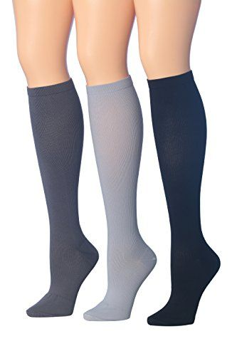 Ronnox Women's 3-Pairs solid colored Knee High Graduated Compression Socks (12-14 mmHg) CP05-D