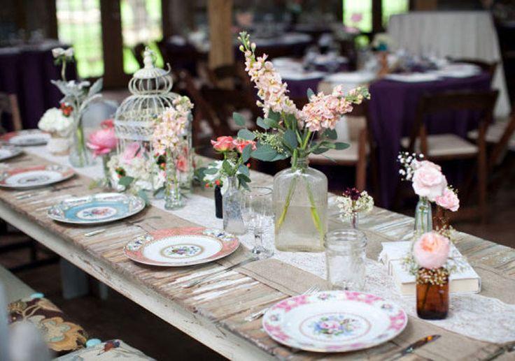 Decoracion mesa navide a vintage azula y plateado buscar - Mesas decoradas para navidad ...