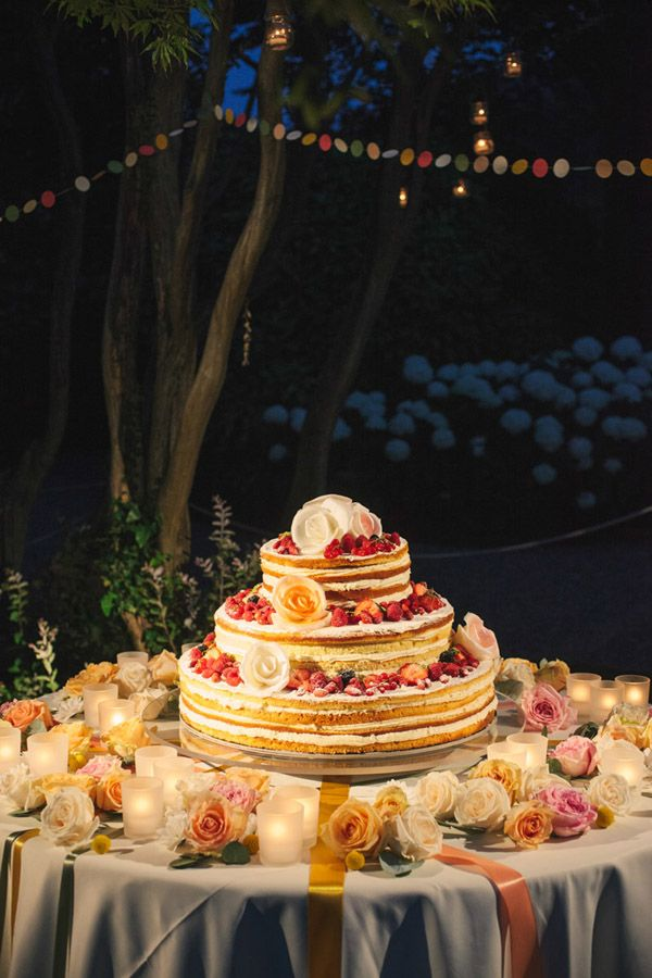 tiered and naked wedding cake #weddingcake #nakedcake #weddingchicks http://www.weddingchicks.com/2014/01/22/lake-como-italian-wedding/