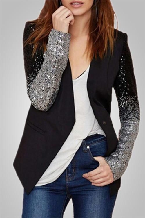 Party All Night Gradient Sequined Blazer