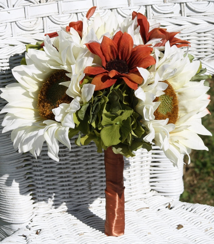 Silk Bridal Sunflower Bouquet - Could totally make these myself! with Yellow and White for me and all yellow for the bridesmaids!!!
