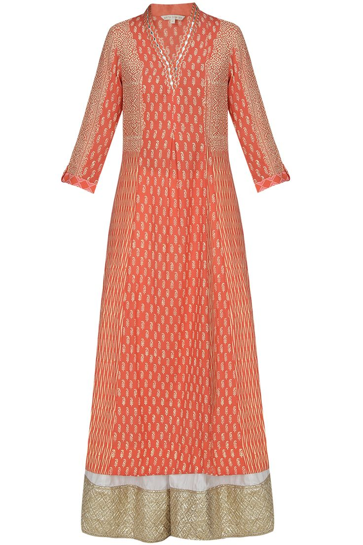 Peach textural printed and gota patti work tunic and palazzo pants set available only at Pernia's Pop Up Shop.