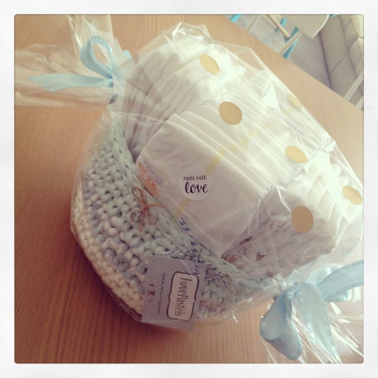 Gift for baby boy. Diapers in a crochet basket