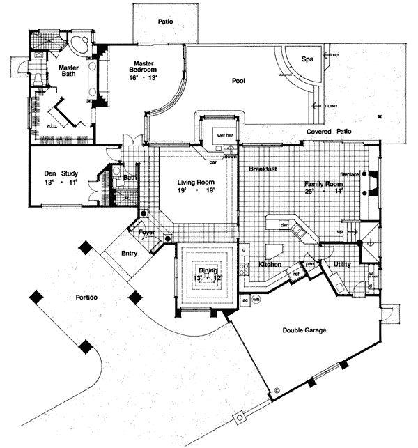 Superior First Floor Plan Of Mediterranean House Plan 63181