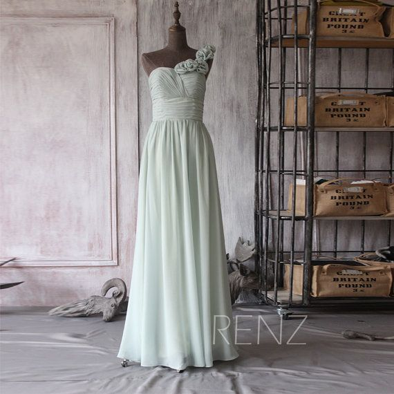 Bridesmaid Dress Dusty Shale Chiffon Dress,Wedding Dress,One Shoulder Rosette Prom Dress,Backless A-Line Maxi Dress,Ruched Party Dress(F082)