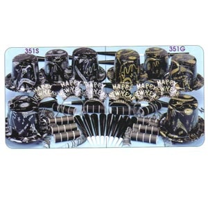 Silver Ebony & Gold Ebony Party Kits. Silver Ebony & Gold Ebony Party Kits.    Contains 25 plastic top hats with H.N.Y. design, 25 H.N.Y. tiaras, 50 foil horns & 100 flame resistant serpentine throws.