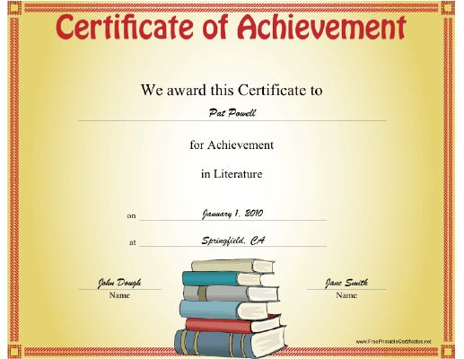 this literature achievement certificate features a big stack of