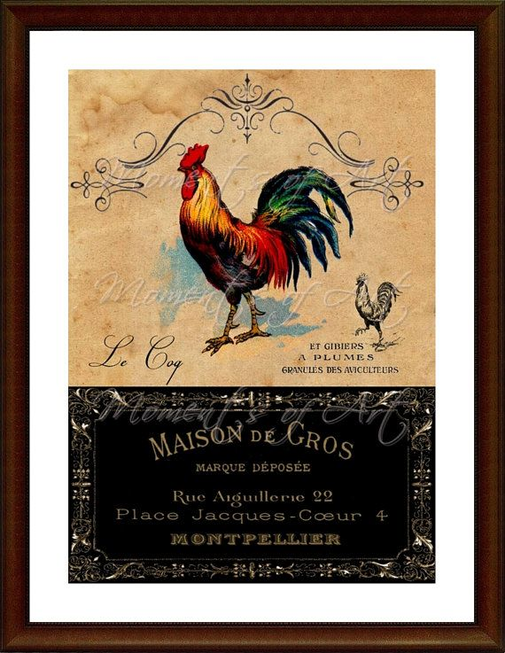 Rooster Kitchen Decor French Country 5x7 Print By MomentsOfArt, $13.00
