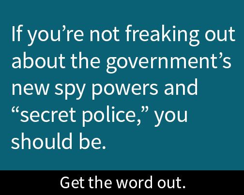 """The Globe and Mail is concerned about what it describes as new """"secret police"""" being brought in by Canada's new spying legislation. This follows shocking revelations that the government is sharing our data with foreign governments. Canadians should be freaking out right now. Learn more: https://openmedia.org/spyonus/?src=pin"""