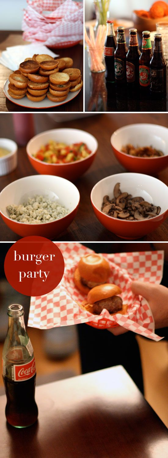 "Mini Burger Party. The way Natalie from ""The SoHo"" blog put this party together sounds like so much fun. A definite must try."