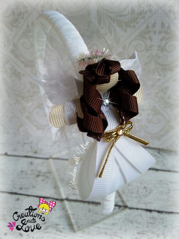 Angel Girl Ribbon Sculpture Headband. Christmas by creationslove