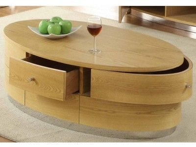 Jual Curve Oak 3 Drawer Coffee Table JF607 Finished With Real Oak Veneers  £475.00
