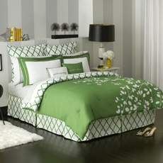 Considering this bedding for my room. Love the green and white. Need to add a monogrammed pillow!