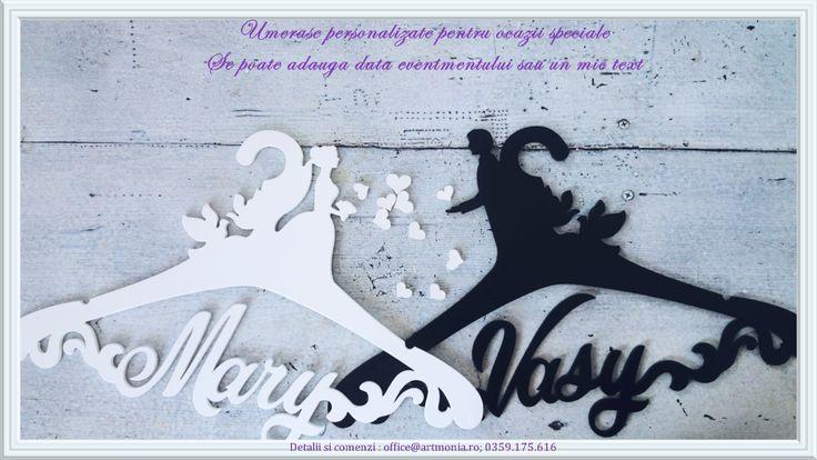 Personalized Wedding Hangers  Groom & Bride silhouette