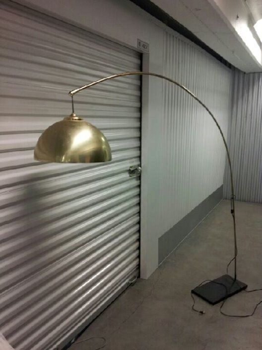 vintage midcentury brass arc floor lamp