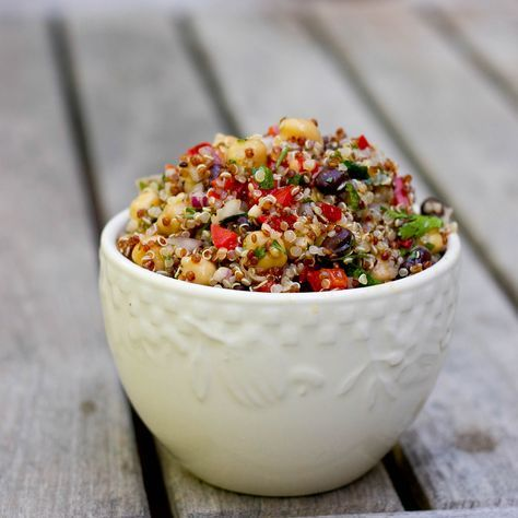Mediterranean Salad with Chickpeas, Black Beans, Quinoa and a Lemon-Cumin Vinaigrette