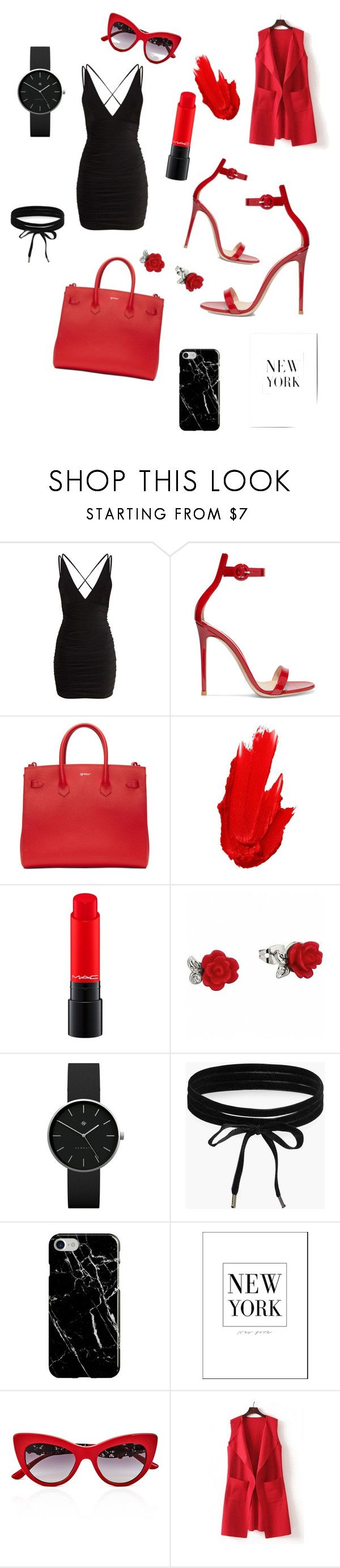 """Little black dress//contest🖤❤️"" by jodiemccrea ❤ liked on Polyvore featuring Gianvito Rossi, Off-White, Maybelline, Newgate, Boohoo, Recover, Dolce&Gabbana, WithChic, contest and fashionset"