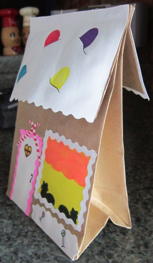 Side Of Brown Paper Bag Gingerbread House Christmas Pinterest