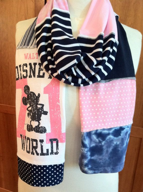 UPCYCLED t-shirt scarf... Mickey Mouse... Walt Disney World... WDW... pink and blue