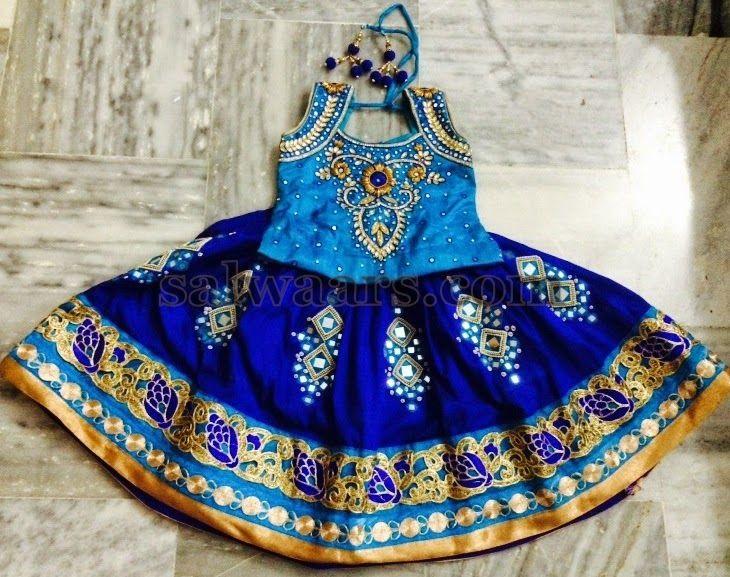 Blue Heavy Mirror Work Skirt - Indian Dresses