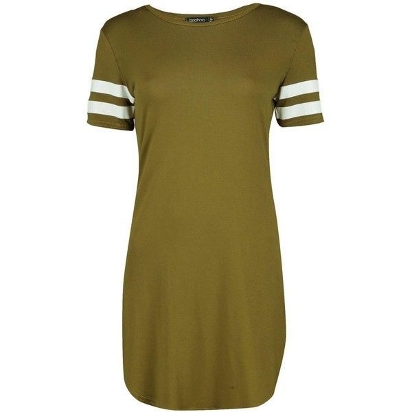 Boohoo Kimmie Baseball Stripe Curved Hem Shift Dress | Boohoo (114420 PYG) ❤ liked on Polyvore featuring dresses, shift dress, layering cami, brown cami, brown bodycon dress and brown camisole