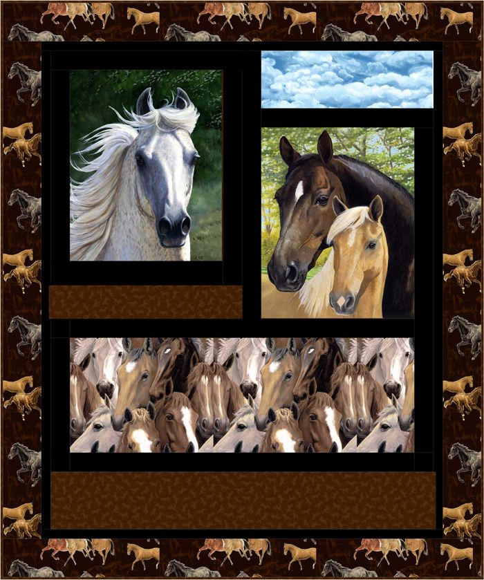 Horse Sense Quilt Pattern HHQ-7380 (advanced beginner, lap and throw)