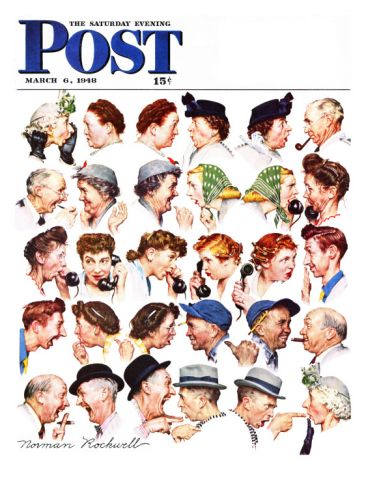"""Chain of Gossip"" Saturday Evening Post Cover, March 6,1948 Giclee Print by Norman Rockwell at Art.com"