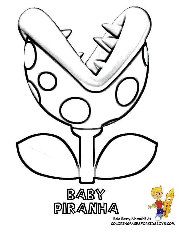 Baby Pirahna Mario Coloring Pages Peach Mario Bros Coloring Pages