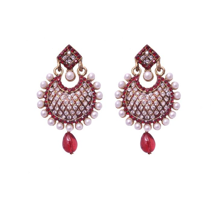 Red Drop Pearl Earrings for women online jewellery shopping