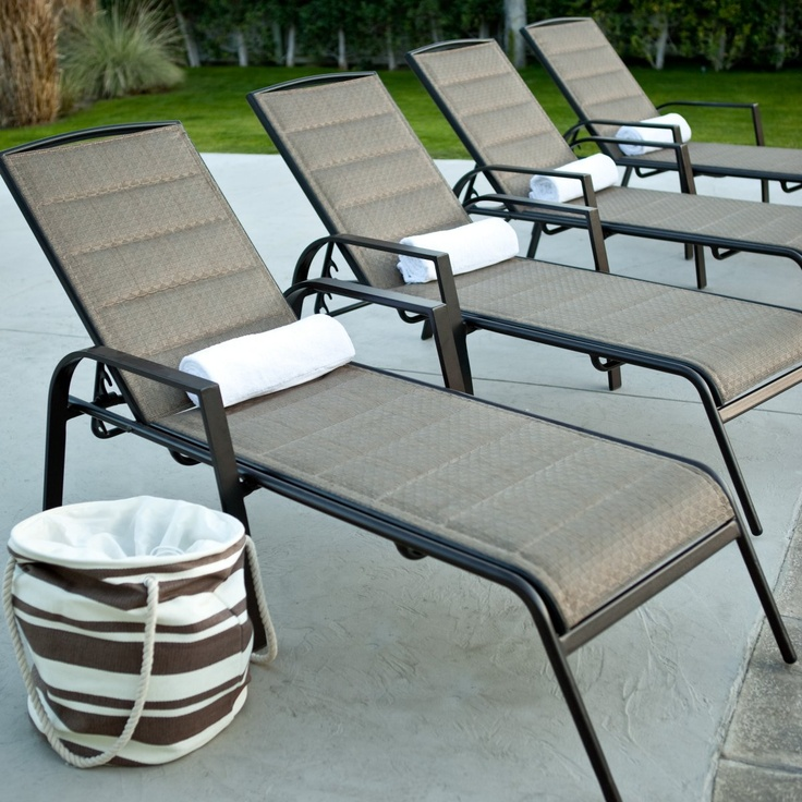 Del Rey Padded Sling Chaise Lounges   Set of 2   Pool Patio FurnitureOutdoor   24 best Pool Furniture images on Pinterest   Pool furniture  . Outdoor Pool Lounge Chairs. Home Design Ideas