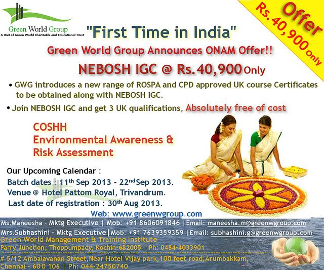 Green World Group Announces Onam Offer Nebosh Igc At 40 900 Only