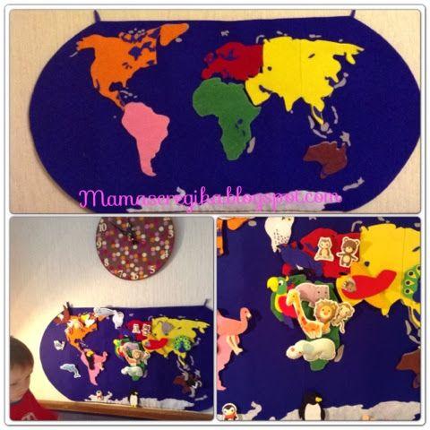 Детская  карта  мира  из  фетра  в  духе  упражнений  Марии  Монтессори.