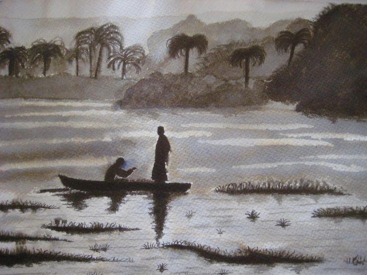 Dibujo Tinta china. El Nilo. Adición.  Autor: Erika Aguilar