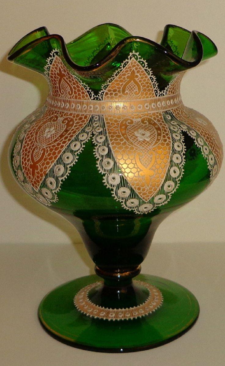 Antique Moser Glass Vase Lace Doily Gold Hand Painted ENAMEL19TH C Rare Bohemian   eBay