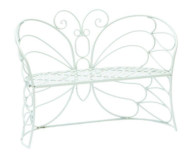 Panchina outdoor in ferro Farfalla bianca - 117x90x45 cm   Dalani Home & Living