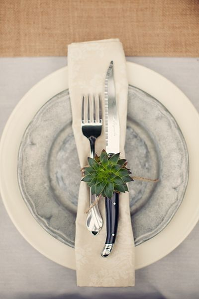 How pretty is the table setting, loving the pewter plates and the placement of the succulent is just too sweet!