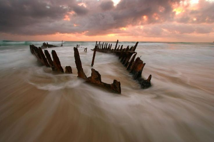This is all that remains of the SS Dicky, which ran aground on the southern end of the Sunshine Coast, Queensland, in 1893. Wind, waves, and rust have reduced it what the council have deemed a public hazard. (Image: Audience submitted/Shaun Lane)
