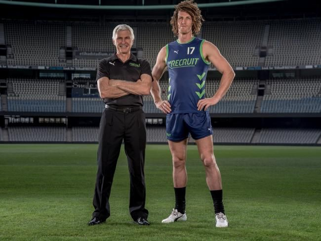 Mick Malthouse with Matt Eagles for Foxtel's The Recruit.