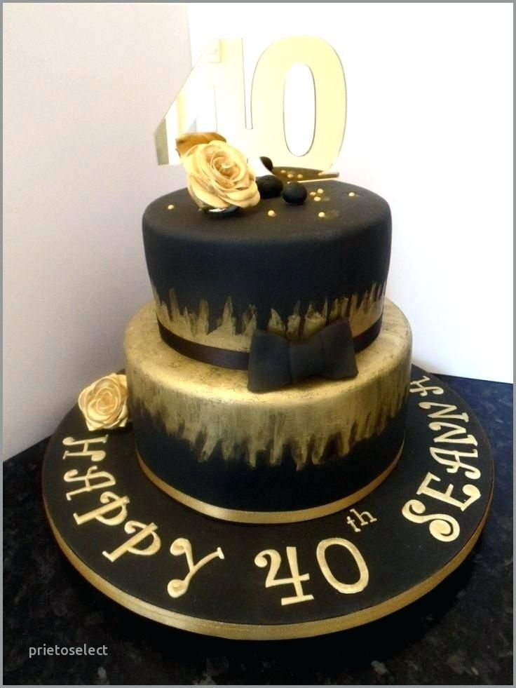 Super Birthday Cake Male 40Th Birthday Cake Man New Black And Gold For Funny Birthday Cards Online Bapapcheapnameinfo