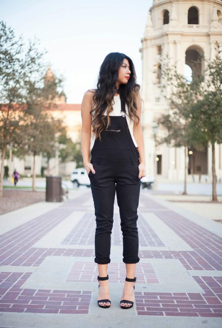 25 Perfect Overalls Outfits for Spring - chic black overalls paired cuffed at the hem and styled with sexy black ankle strap heels