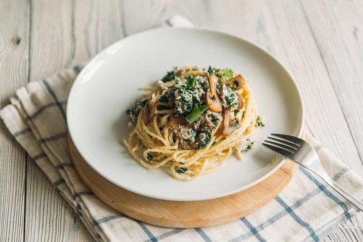 спагетти со шпинатом и сливочным сыром