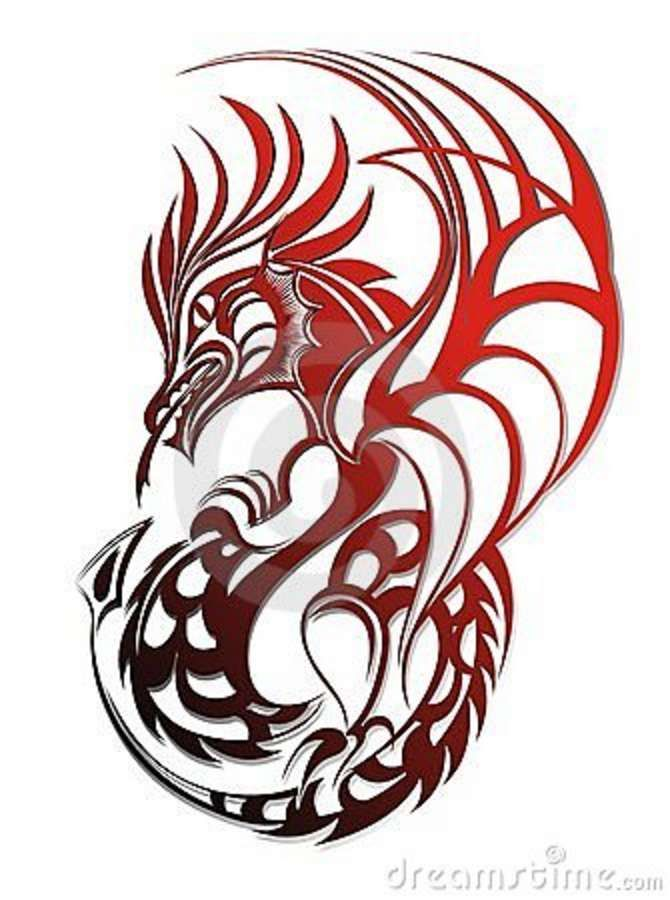 Awesome Red Tribal Dragon Tattoo Design