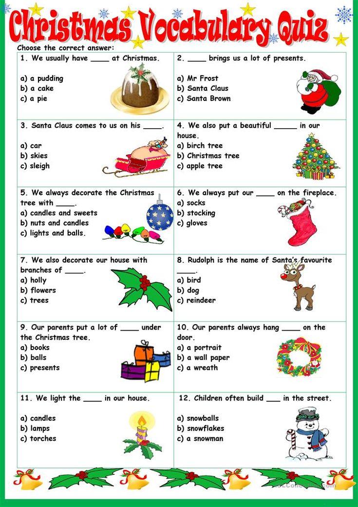 Christmas Vocabulary Quiz worksheet - Free ESL printable worksheets made by teachers
