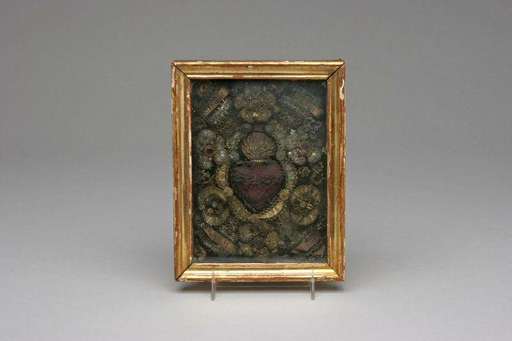 Antique Sacred Heart Reliquary  Antique reliquary diorama with a bleeding sacred heart surrounded by printed banners and metallic thread flourishes. $150